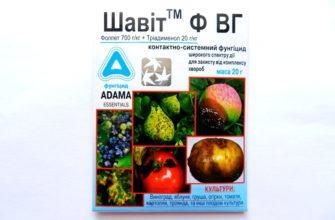 Фунгицид Шавит является средством, защищающим виноград, фруктовое дерево, огурец, томат от грибкового заболевания. На протяжении короткого периода Шавит вылечивает культуры от гнили, парши, мучнистой росы. Достаточно использовать несколько обработок для искоренения заболевания. Характеристика В Фунгициде Шавите находятся активно действующие компоненты - фолпеты фталимиды, триадминолы и триазолы. Благодаря активному взаимодействию компонентов, можно успешно лечить культуры, которые заражены грибками. Действующие вещества оказывают разное влияние. Фолпет, когда попадает на растение, нарушает клеточное деление возбудителей, мешает его продвижению по культуре. Вторым веществом является триадименол. Он изменяет мембранные грибные функции. Это приводит к клеточному разрушению. Шавит выпускается в виде водорастворимой гранулы или порошка. Он фасуется в полиэтиленовые килограммовые пакеты. Время воздействия Фунгицид Шавит действует активно спустя 15 дней после нанесения на обрабатываемую поверхность. Нанесение компонента зависит от погодных условий. Работает вещество активно, вне зависимости от температуры, вида чернозема и нормы влажности. Оно не способно навредить культуре. Одни из некоторых ранних растительных сортов увядает. Действующее вещество не влияет на новые посадки. Препарат применяется, если культура не появляется. Фунгицид Шавит считается эффективным веществом, которое хорошо борется с разным типом вредителей. Преимущества Преимуществом Шавита является исключение возможности появления резистентности, эффективное влияние на грибковые заболевания на определенные культурные растения, использование в профилактике, терапии, полном искоренении микоза. Препарат считается быстродействующим компонентом. Он защищает растения в течение двух недель. Не относится к токсичному компоненту. Недостатки Недостаток компонента состоит в том, что он опасен для окружающей среды. Оно отличается токсичностью для человека, животного и медоносного насекомого. Инструкция по применению Фу